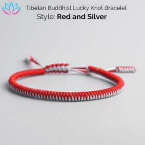 Red and Silver Tibetan Buddhist Lucky Knot