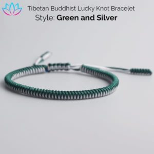 Green and Silver Tibetan Buddhist Lucky Knot