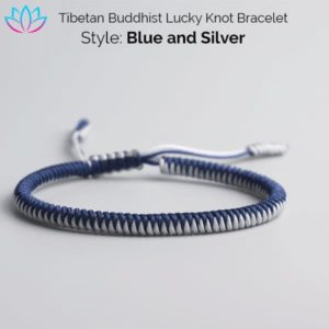 Blure and Silver Tibetan Buddhist Lucky Knot