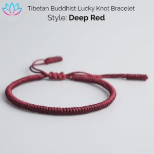 Deep Red Tibetan Buddhist Lucky Knot Bracelet
