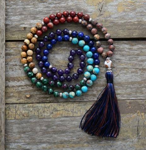 108 Natural Stone Chakra Mala Beads