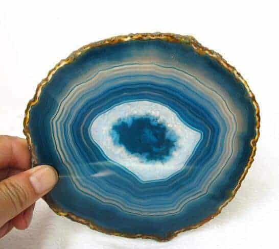 Blue Agate Slice Pair Dyed Blue Agate Slice Blue Agate Slice Gold Plated PG3808AP Blue Geode Slice Pair Blue Geode Slice