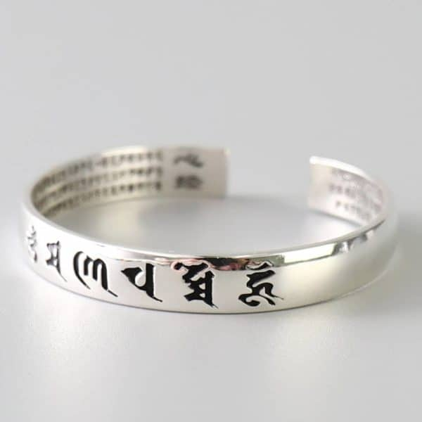 Silver Buddhist Enlightenment Bangle - Dark
