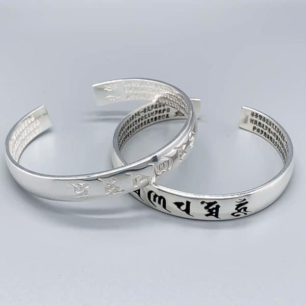 Silver Buddhist Enlightenment Bangle - Main