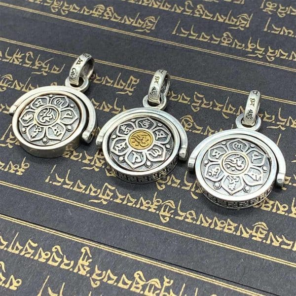 Silver Buddhist Mantra Spinning Pendants 3 Styles